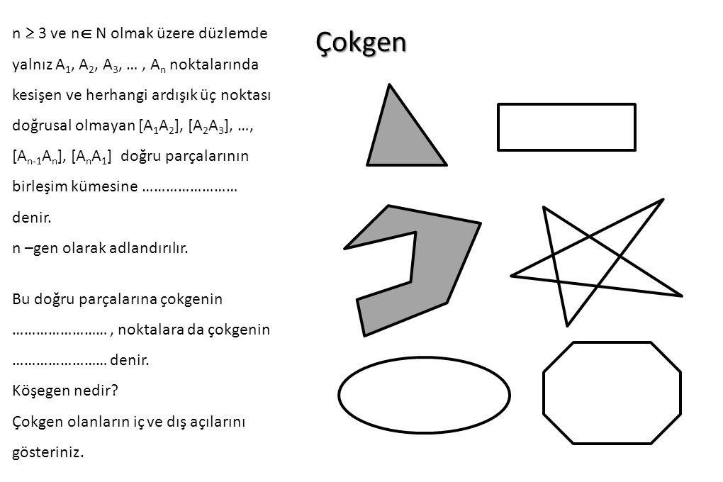 n  3 ve n N olmak üzere düzlemde yalnız A1, A2, A3, … , An noktalarında kesişen ve herhangi ardışık üç noktası doğrusal olmayan [A1A2], [A2A3], …, [An-1An], [AnA1] doğru parçalarının birleşim kümesine …………………… denir.